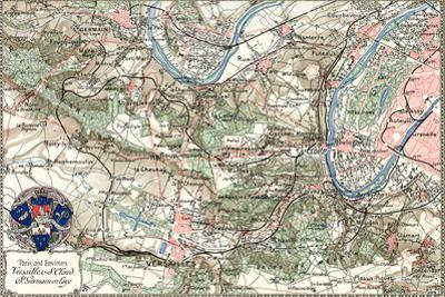 """""""Paris and Environs"""" French Map from the 1800s by Piddix"""