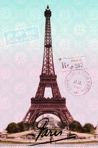 Pink Eiffel Tower, French Vintage Postcard Collage by Piddix