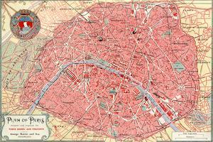 """Plan of Paris"" French Map from the 1800s by Piddix"
