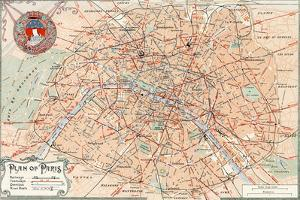 """Plan of Paris"" Travelways French Map from the 1800s by Piddix"
