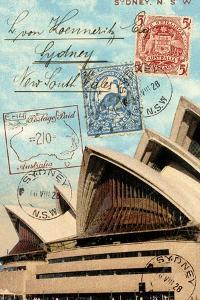 Sydney Opera House, Australia, Vintage Postcard Collage by Piddix