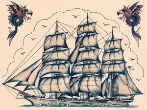Three Masted Ship & Sea Dragons, Vintage Tattoo Flash by Norman Collins, aka, Sailor Jerry by Piddix