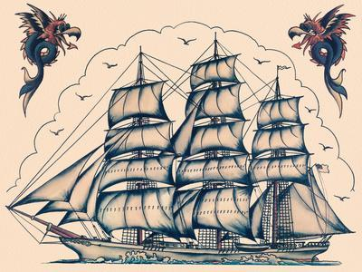 Three Masted Ship & Sea Dragons, Vintage Tattoo Flash by Norman Collins, aka, Sailor Jerry