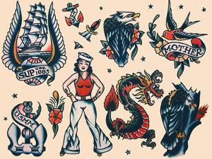 Vintage Sailor Tattoo Flash by Norman Collins, aka, Sailor Jerry by Piddix