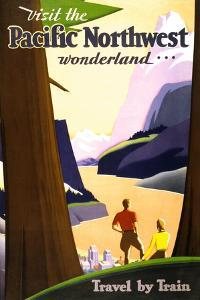 """Visit the Pacific Northwest wonderland,"" Vintage Travel Poster by Piddix"