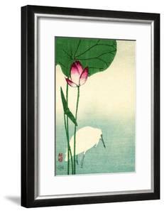 White Heron with Lotus in Water Vintage Japanese Woodblock Print by piddix