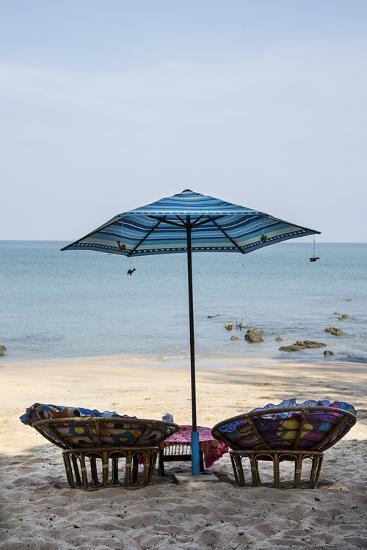 Piece of Furniture, Sunshade, Beach Bar, Thailand, Beach-Andrea Haase-Photographic Print