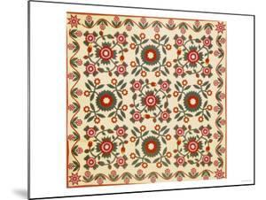 Pieced & Appliqued Cotton Quilted Coverlet, Lancaster County, Pennsylvania, circa 1820-1850