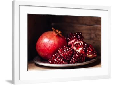 Pieces and Grains of Ripe Pomegranate-Lisovskaya Natalia-Framed Photographic Print