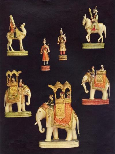 Pieces from an Ivory Chess Set Made in Delhi for Begum Samru in C.1790--Giclee Print
