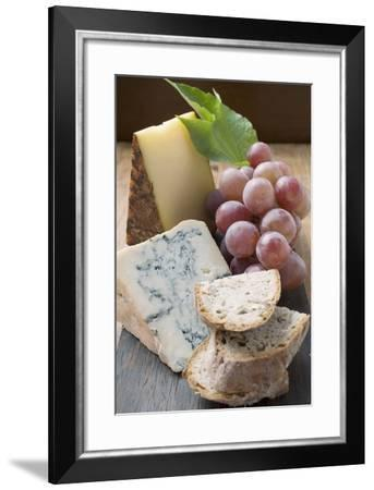 Pieces of Appenzeller and Blue Cheese, Red Grapes, Bread-Foodcollection-Framed Photographic Print