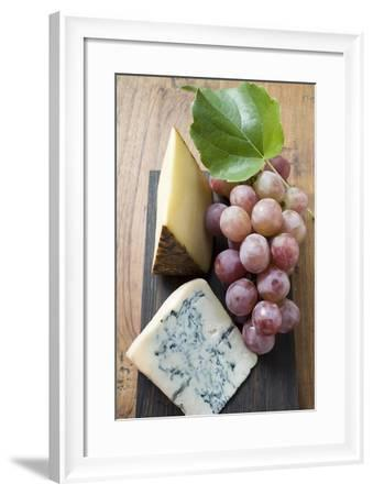 Pieces of Appenzeller and Blue Cheese with Red Grapes-Foodcollection-Framed Photographic Print