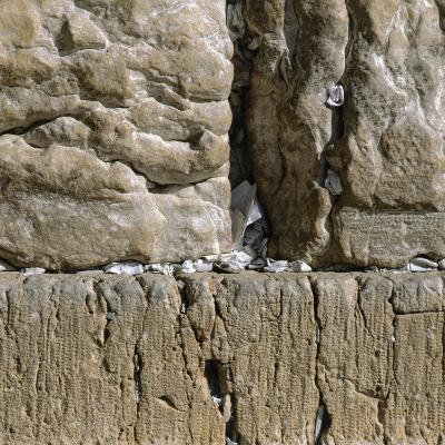 Pieces of Paper with Written Prayers Placed in the Wailing Wall by Pious Jews--Photographic Print