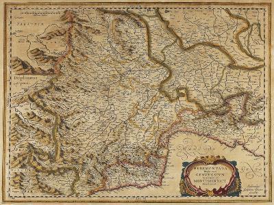 Piedmont, Monferrato and Liguria Regions, Map by Gerhard Kremer, from Regionum Italiae--Giclee Print