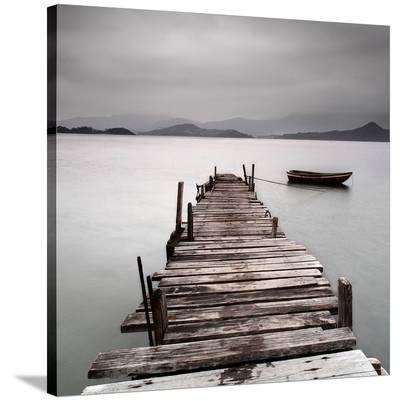 Pier And Boat II--Stretched Canvas Print
