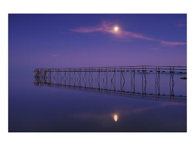 Pier and Moon at Dusk-Mike Grandmaison-Art Print