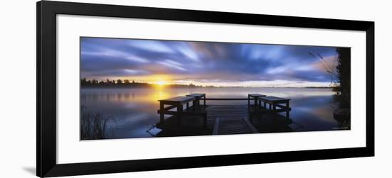 Pier at Dusk, Vuoksi River, Imatra, Finland--Framed Photographic Print