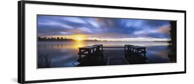 Pier at Dusk, Vuoksi River, Imatra, Finland--Framed Photographic Print