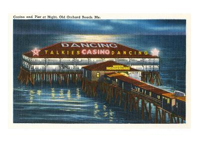 Pier at Night, Old Orchard Beach, Maine--Art Print