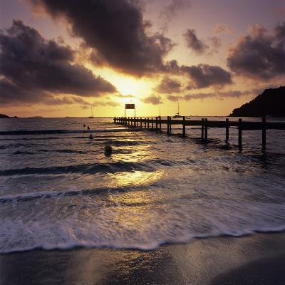 Pier at Sunrise, Plage De Santa Giulia, South East Corsica, Corsica, France, Mediterranean, Europe-Stuart Black-Photographic Print