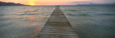 Pier at Sunset in the Sea, Alcudia, Majorca, Spain--Photographic Print