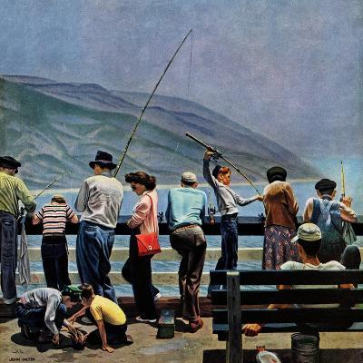 """""""Pier Fishing,"""" August 13, 1949-John Falter-Giclee Print"""