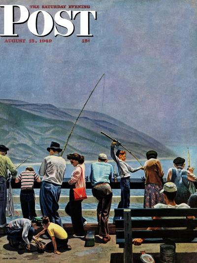 """Pier Fishing,"" Saturday Evening Post Cover, August 13, 1949-John Falter-Giclee Print"