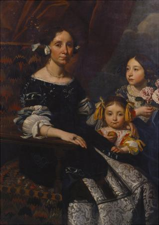 Portrait of a Lady, Seated Three-Quarter Length, in a Blue and White Dress, with Two Young… by Pier Francesco Cittadini