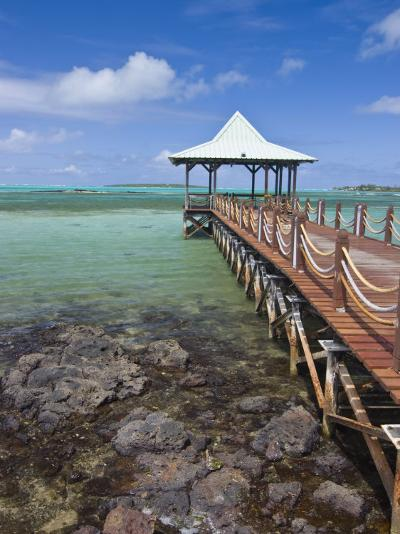 Pier Is Leading into the Blue Sea and Ends in a Small Hut, Mauritius, Indian Ocean, Africa-Michael Runkel-Photographic Print