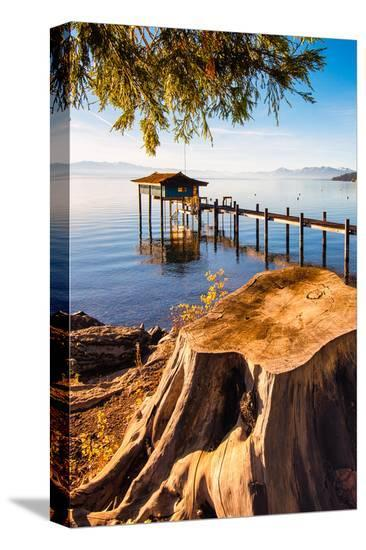 Pier Lake Tahoe Sierra Nevada--Stretched Canvas Print