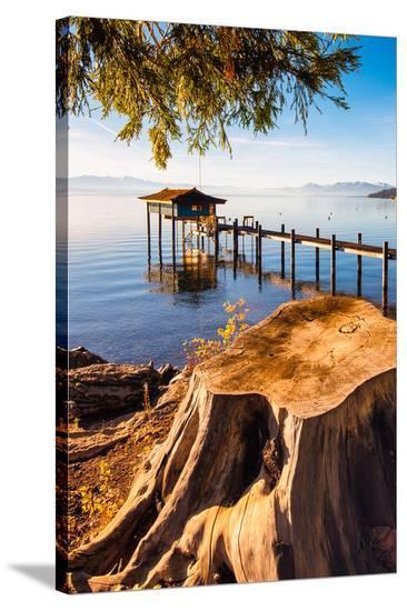 Pier Lake Tahoe Sierra Nevada--Stretched Canvas Print