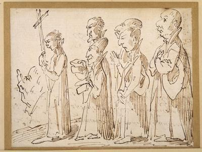 A Jesuit Procession, Caricatured with a Crucifer, and Five Others Following; an Additional Man's…