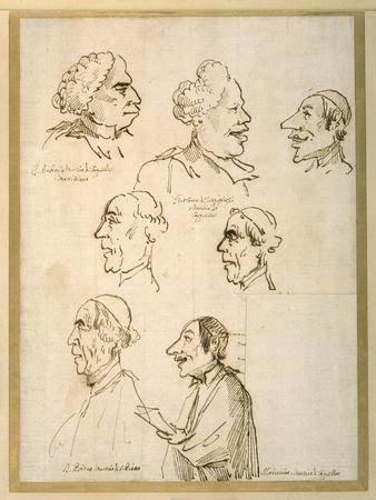 Seven Caricatured Profiles of Four Singers of the Papal Chapels