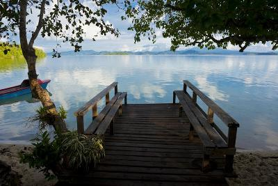 Pier of an Eco Lodge Above the Water of the Marovo Lagoon, Solomon Islands, Pacific-Michael Runkel-Photographic Print