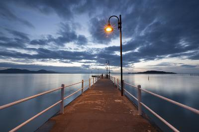 Pier of Lake Trasimeno at Dusk, Perugia, Umbria, Italy.-ClickAlps-Photographic Print