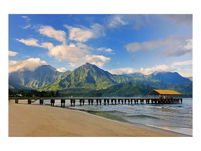 Pier on Hanalei Beach, Island of Kauai, Hawaii, USA--Art Print
