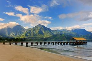 Pier on Hanalei Beach, Island of Kauai, Hawaii, USA