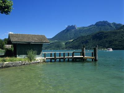 Pier on Lake, Duingt, Lake Annecy, Rhone Alpes, France, Europe-Stuart Black-Photographic Print