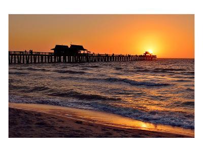 Pier on the Beach of Naples on the Gulf Coast, Florida, USA--Art Print