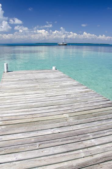 Pier over Clear Waters, Southwater Cay, Stann Creek, Belize-Cindy Miller Hopkins-Photographic Print