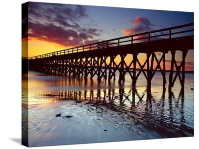 Pier Reflections-AJ Messier-Stretched Canvas Print
