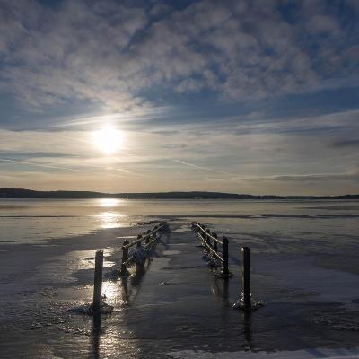 Pier under Water in Winter- Wisslaren-Photographic Print