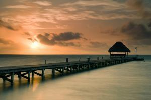 Pier with Palapa at Sunrise, Ambergris Caye, Belize