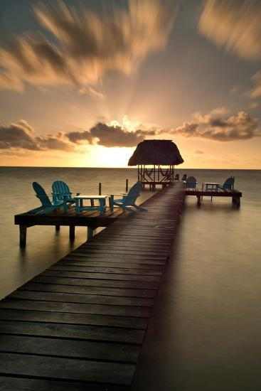 Pier with Palapa on Caribbean Sea at Sunrise, Caye Caulker Pier, Belize--Photographic Print