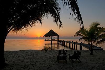 Pier with Palapa on Caribbean Sea at Sunrise, Maya Beach, Stann Creek District, Belize--Photographic Print