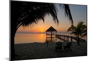 Pier with Palapa on Caribbean Sea at Sunrise, Maya Beach, Stann Creek District, Belize