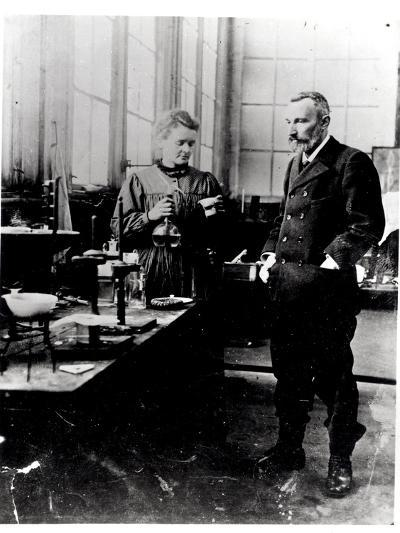 Pierre (1859-1906) and Marie Curie (1867-1934) in their Laboratory, c.1900-Valerian Gribayedoff-Photographic Print