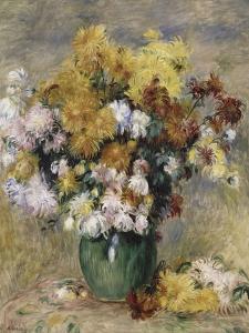 Bouquet de chrysanthèmes dans un vase by Pierre-Auguste Renoir