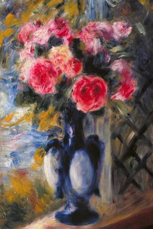 Bouquet of Roses in Blue Vase 1892 by Pierre-Auguste Renoir