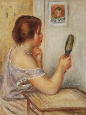 Gabrielle Holding a Mirror or Marie Dupuis Holding a Mirror with a Portrait of Coco, Early 1900S by Pierre-Auguste Renoir